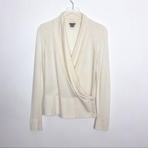 Ann Taylor wrap cream sweater button detail size S